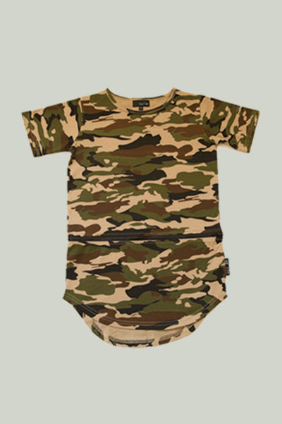 Zippy Conversion Tee, cotton jersey with detachable interchangeable panel and zipper detail in camo