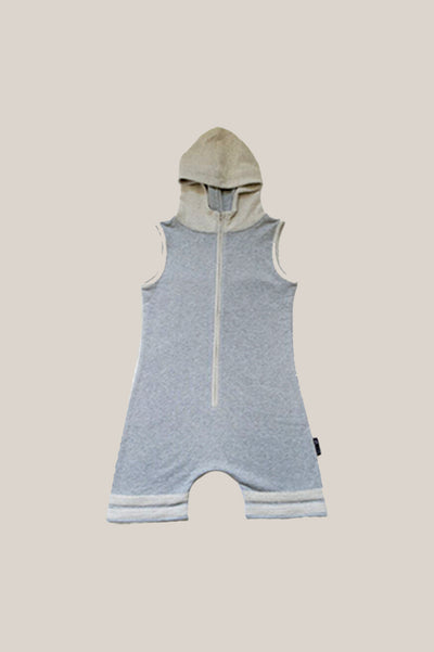 Lil' Romper in grey with hood, drop crotch and reverse terry detailing on zipper panel, hood and legs