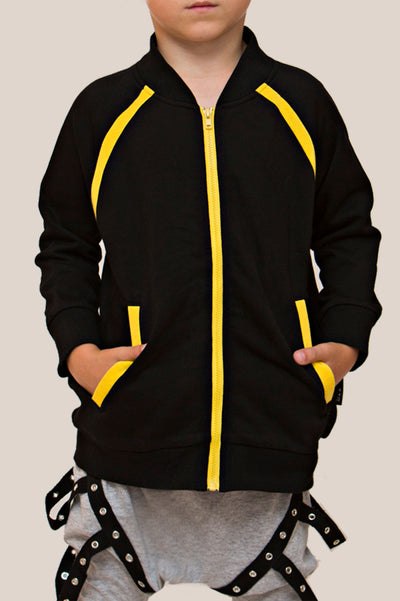 Convertible Sports Luxe zip up  Jacket with fully detachable zippers black and yellow