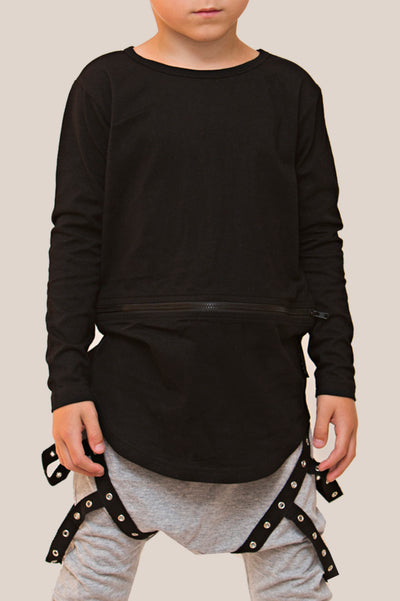 Zipper Conversion Long Sleeve Top - Black