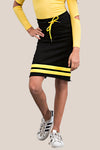 Mid Calf finish skirt, slim fit, raw edging with contrasting waist tie and stripe detail.