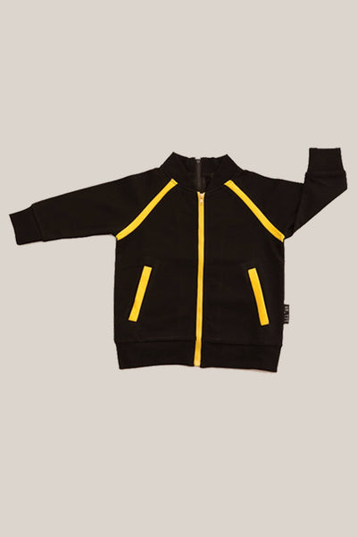 Convertible Sports Luxe Jacket - Black with yellow stripe