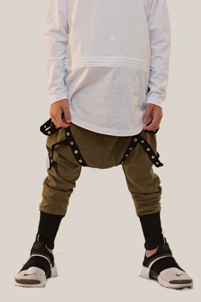Harem jogger drop crotch pants made from 100% cotton jersey