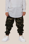 Camo cargo pants with draw string waist & pockets, made from mid weight cotton drill