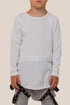 Zipper Conversion Long Sleeve Top - White