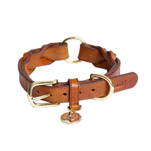 HYDE PARK LEATHER COLLAR  / TAN S + M