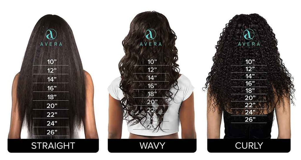AVERA Virgin Hair Extensions Hair Length Guide