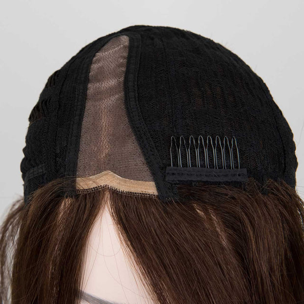Straight Medium Brown Side Part Wig with Bangs