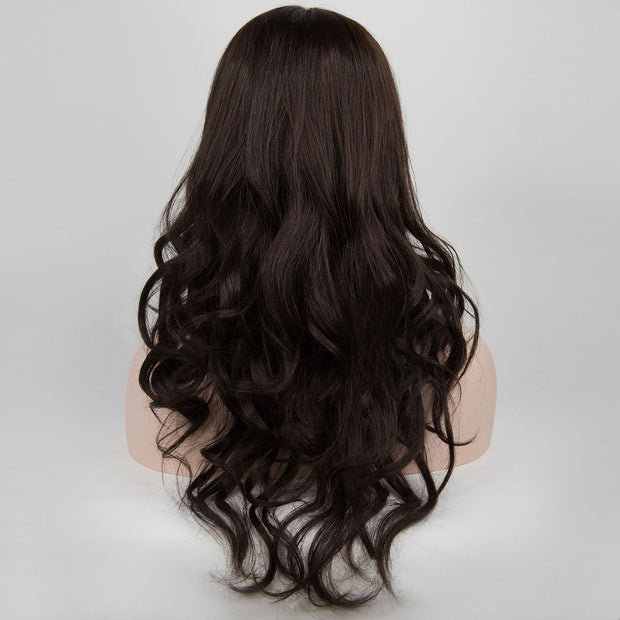 Long Wavy Medium Brown Mid Part Wig