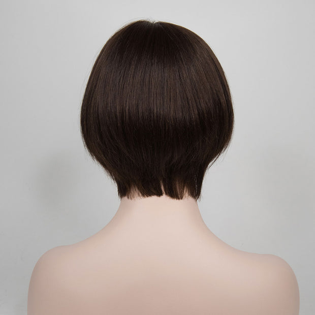 Uneven Cut Dark Brown w/ Highlights Short Bob Wig