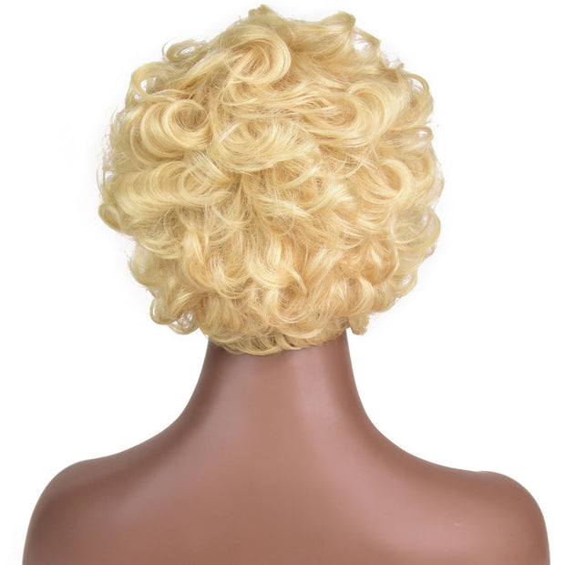 AVERA Platinum Blonde Short Wavy Multi-layers Wig