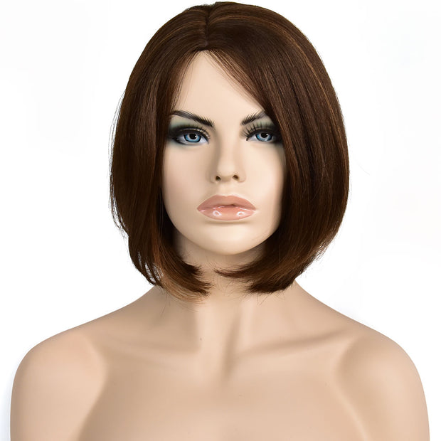 AVERA Light Brown Short Bob Cut Human Hair Wig