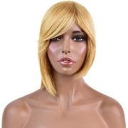 Dirty Blonde Short Bob Cut Wig with Bang