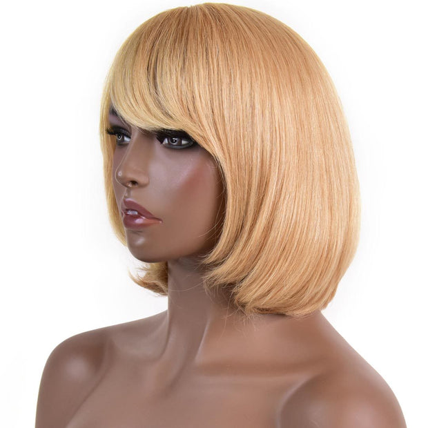 AVERA Strawberry Blonde Short Bob Wig with Bang