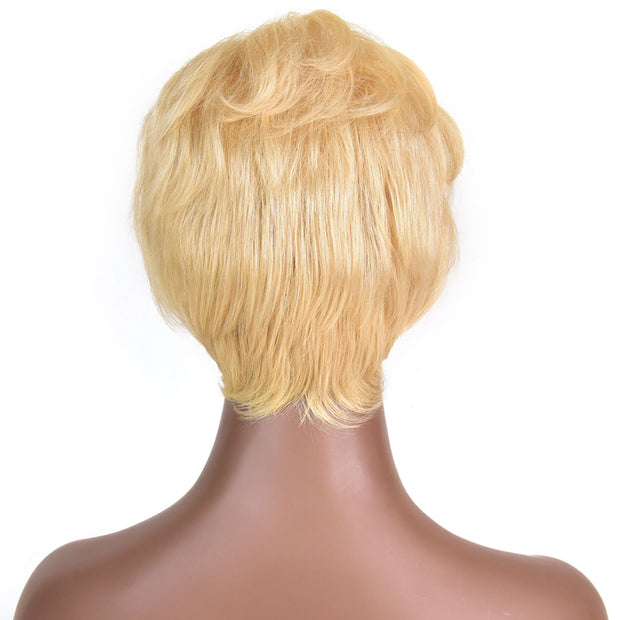 AVERA Platinum Blonde Short Wavy Side-part Wig