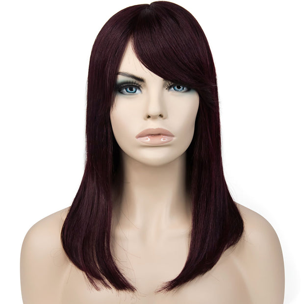 AVERA Human Hair Burgundy Medical Wig
