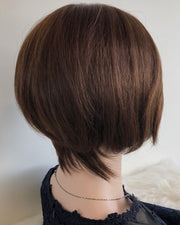 Uneven Cut Medium Brown w/ Highlights Short Bob Wig