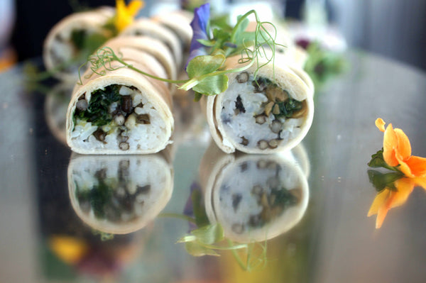 Veggie rolls at the Tara Stiles W Hotel Hong Kong event