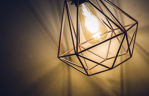 Geometric Pendant Light with LED Globe