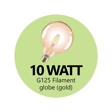 Premium 10 Watt G125 LED Filament Globe (Gold)