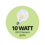 Premium 10 Watt G95 LED Filament Globe (Clear)