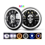 RGB Skull Head Lights - 7 Inch