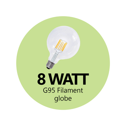 8 Watt G95 LED Filament (Clear)