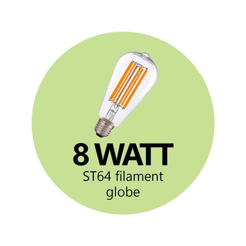 8 Watt ST64 LED Filament Globe