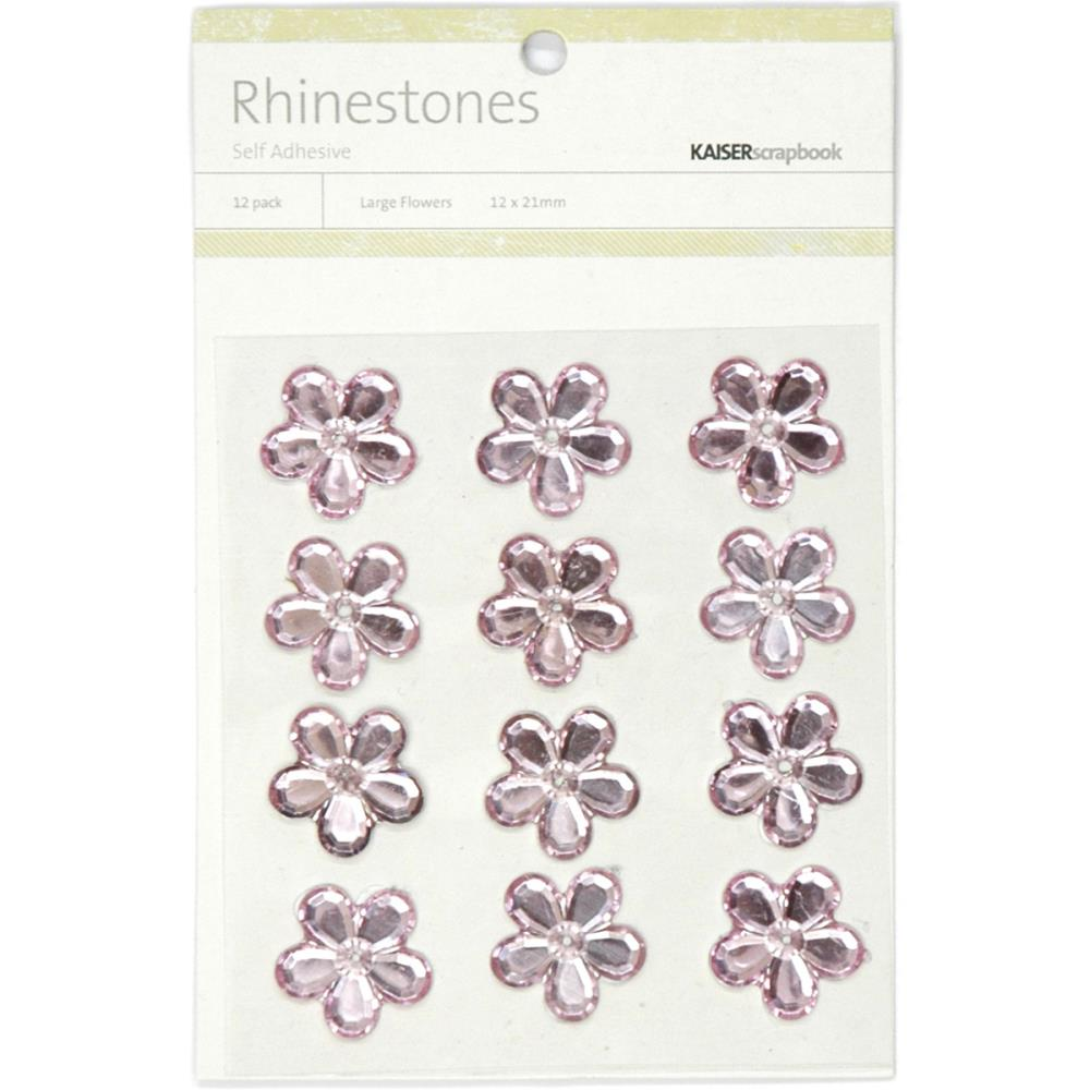 July4Special Kaisercraft Self-Adhesive Flower Rhinestones 12/Pkg - Light Pink