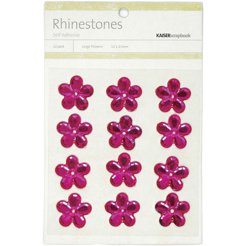 July4Special Kaisercraft Self-Adhesive Flower Rhinestones 12/Pkg - Hot Pink