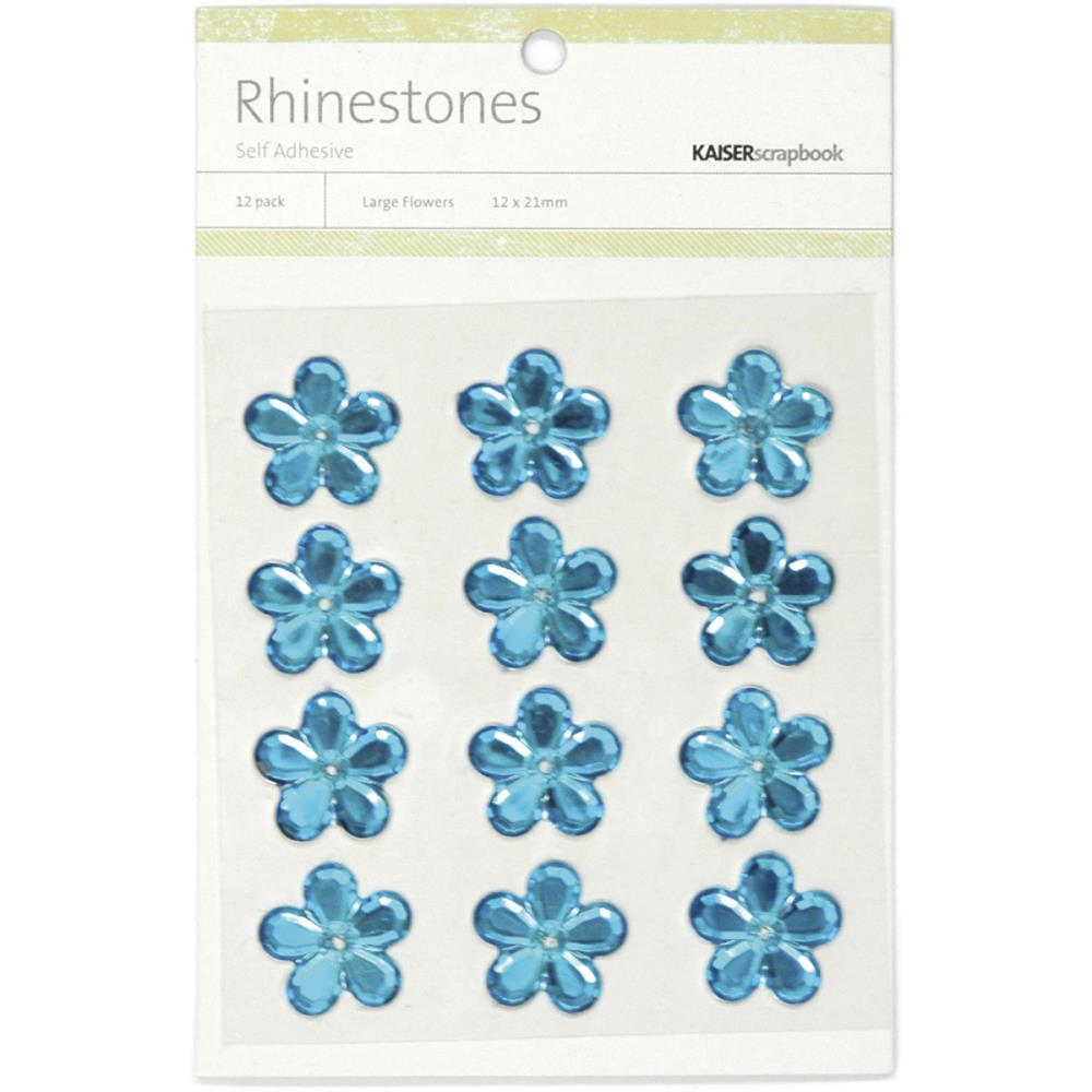 July4Special Kaisercraft Self-Adhesive Flower Rhinestones 12/Pkg - Blue