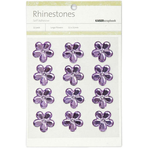 July4Special Kaisercraft Self-Adhesive Flower Rhinestones 12/Pkg - Lilac