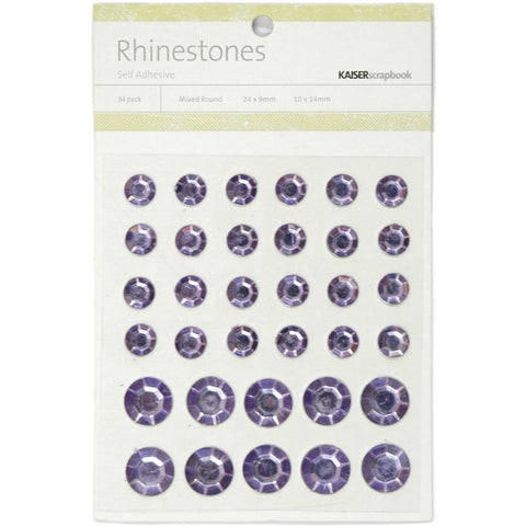 July4Special Kaisercraft Self-Adhesive Round Rhinestones 34/Pkg - Lilac