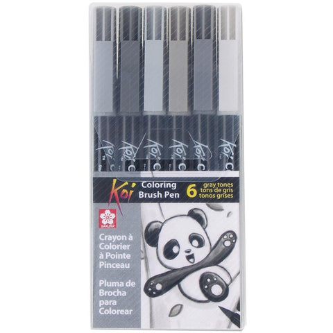Koi Coloring Brush Pens, 6/Pkg - Gray