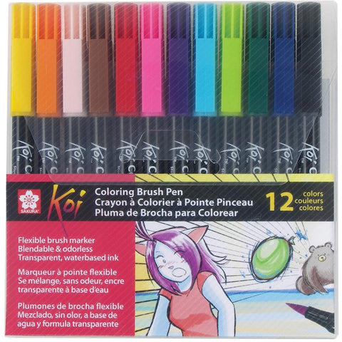 Koi Coloring Brush Pens, 12/Pkg - Assorted
