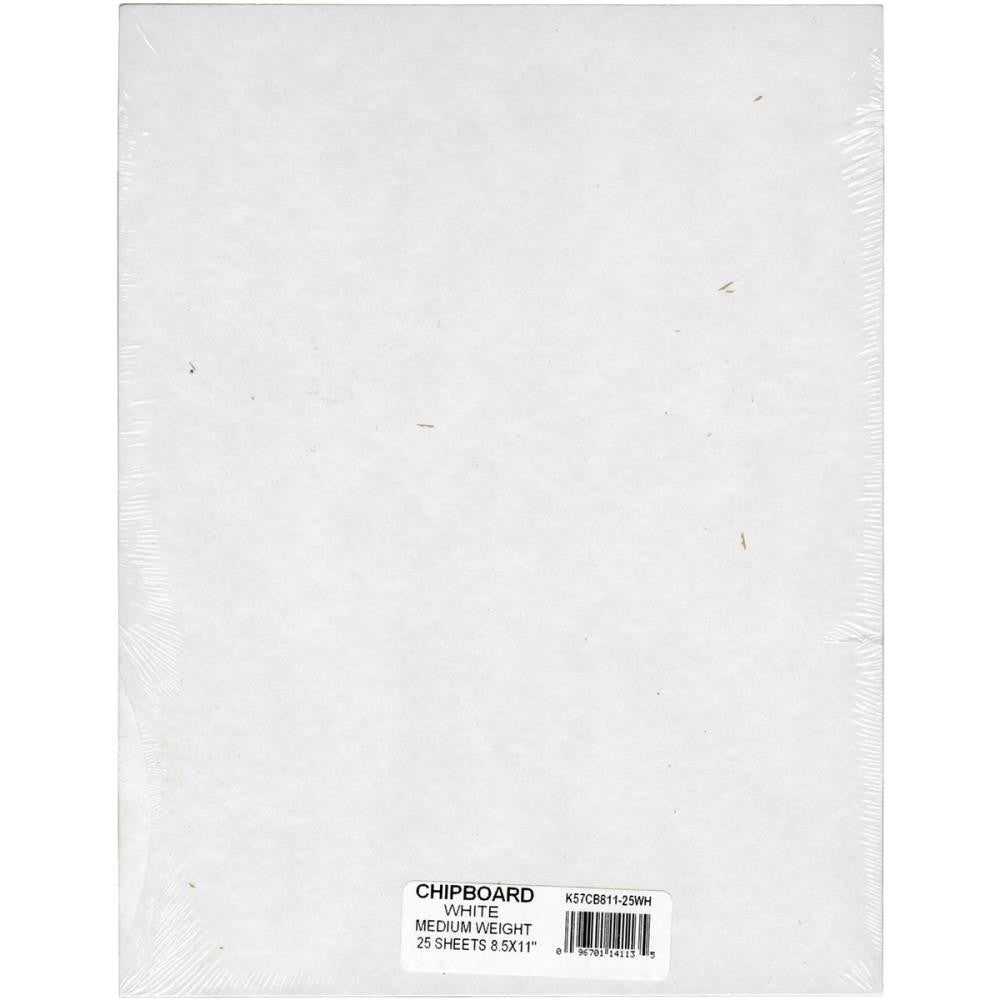 "Medium Weight Chipboard Sheets 8.5""X11"" 25/Pkg - White"