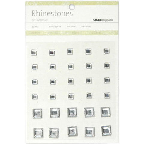 July4Special Kaisercraft Self-Adhesive Square Rhinestones 30/Pkg - Silver
