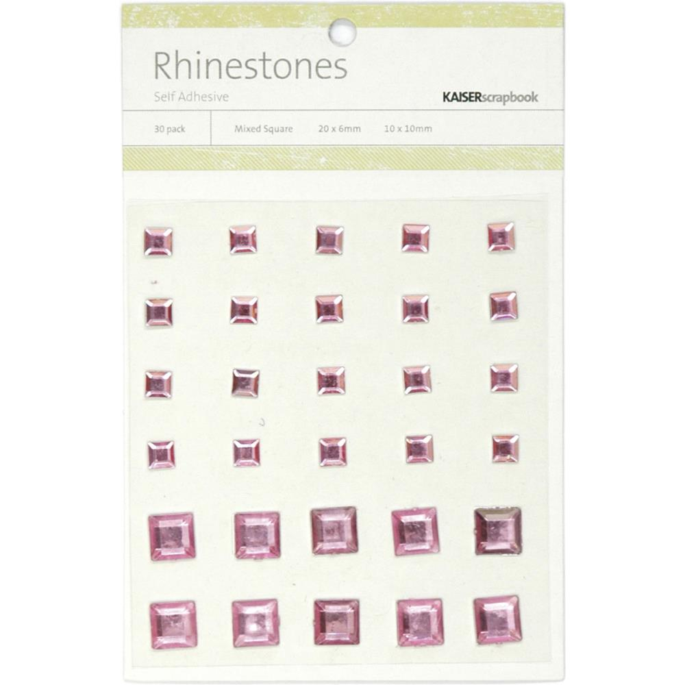July4Special Kaisercraft Self-Adhesive Square Rhinestones 30/Pkg - Light Pink