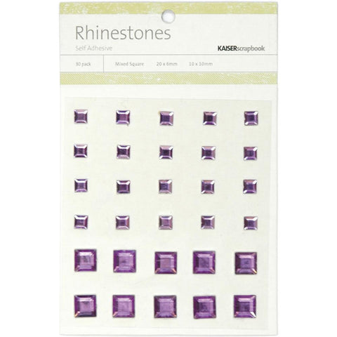 July4Special Kaisercraft Self-Adhesive Square Rhinestones 30/Pkg - Lilac