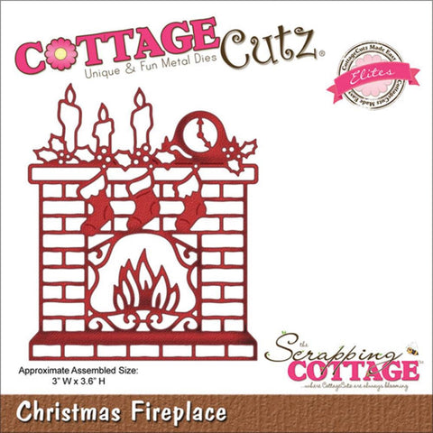 "CottageCutz Die - Christmas Fireplace 3""X3.6"""