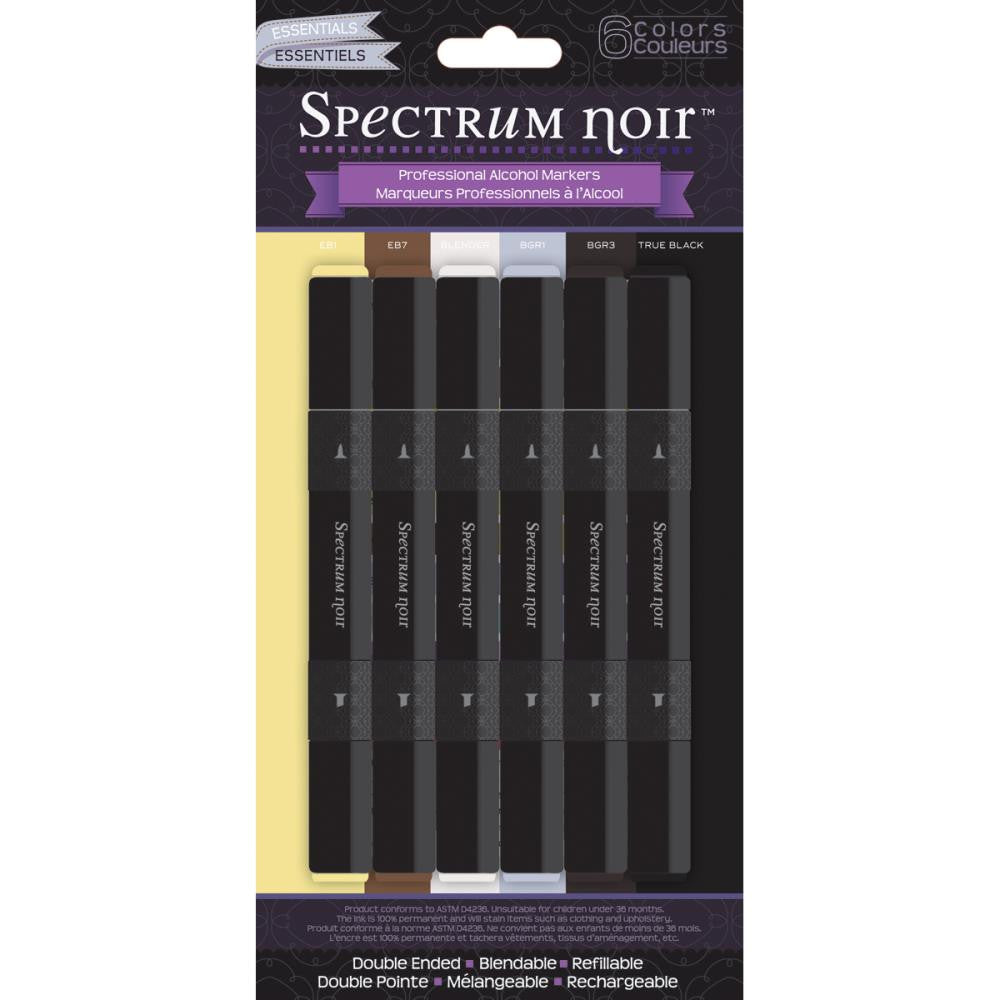 Crafter's Companion Spectrum Noir Alcohol Markers - Essentials - Pack of 6