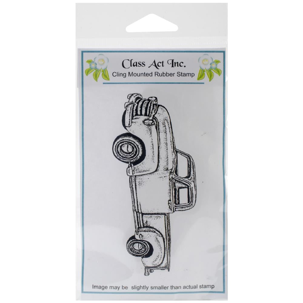 "Class Act Cling Mounted Rubber Stamp 3.25"" x 5.5"" - Old Truck"