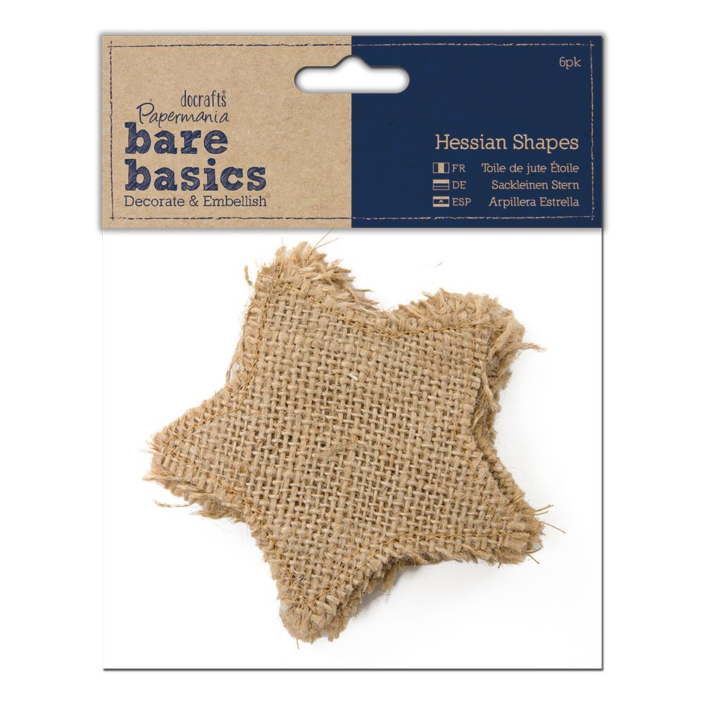 Papermania - Bare Basics Hessian Shapes 6/Pkg - Stars 3.75""