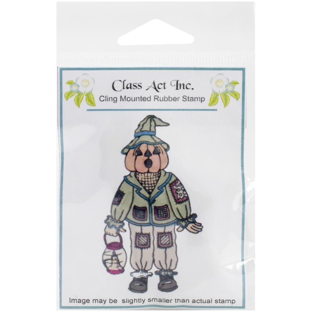 "Class Act Cling Mounted Rubber Stamp 2.75"" x 3.75"" - Scarecrow Pumpkin"