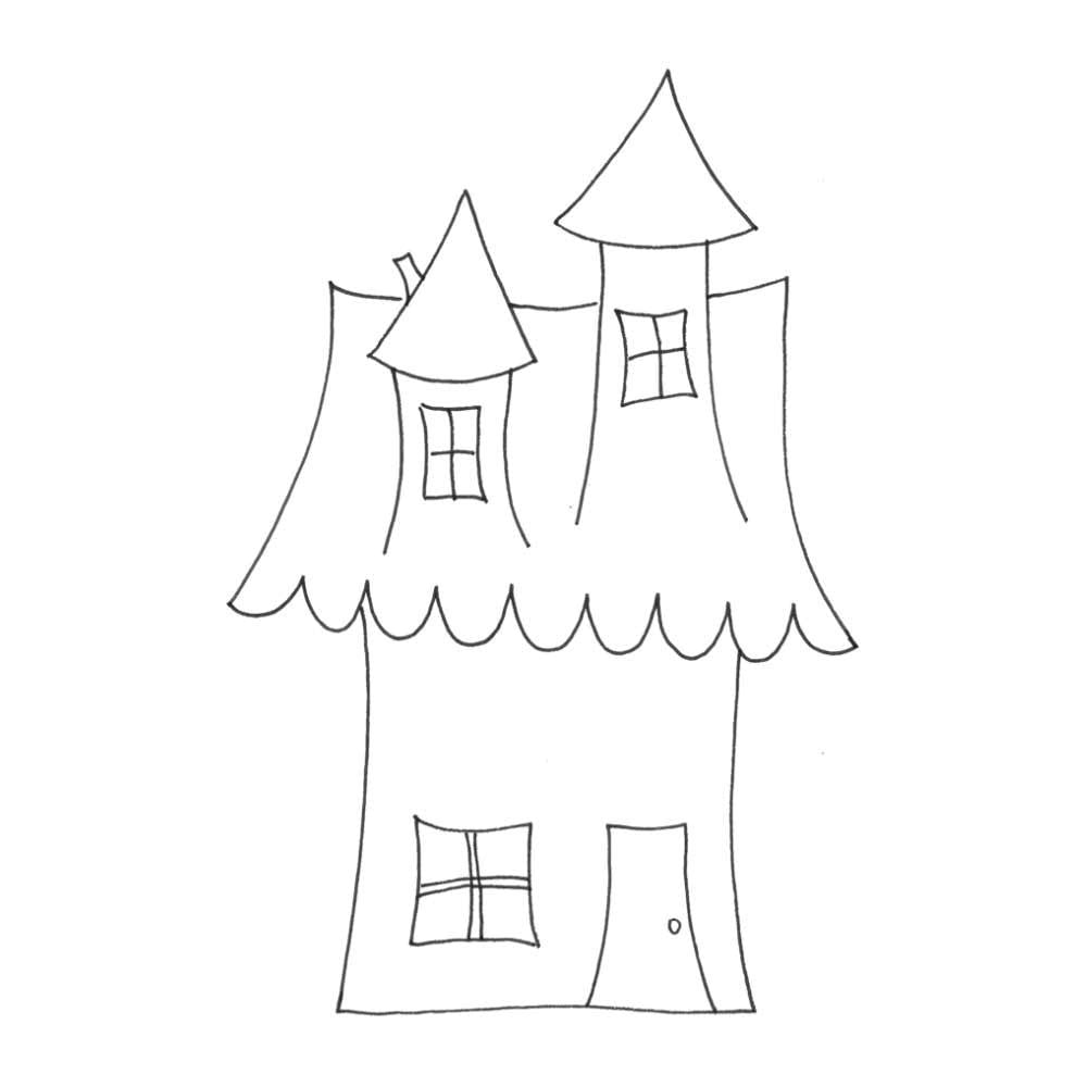 "Joggles Cling Stamp 2.75"" x 4"" - Wonky House #4"