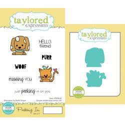 "Taylored Expressions Cling Stamp & Die Set 5.5""X3"" - Peeking In"