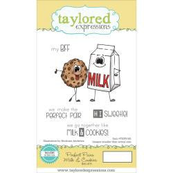 "Taylored Expressions Cling Stamp Set 5.5""X3"" - Perfect Pairs - Milk & Cookies"
