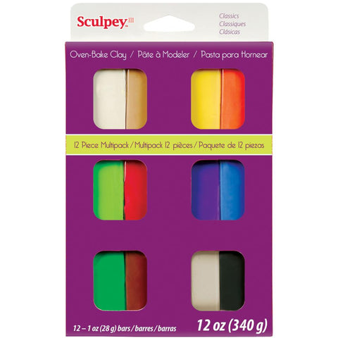 ***New Item*** Sculpey III Polymer Clay Multipack 1oz 12/Pkg - Classics