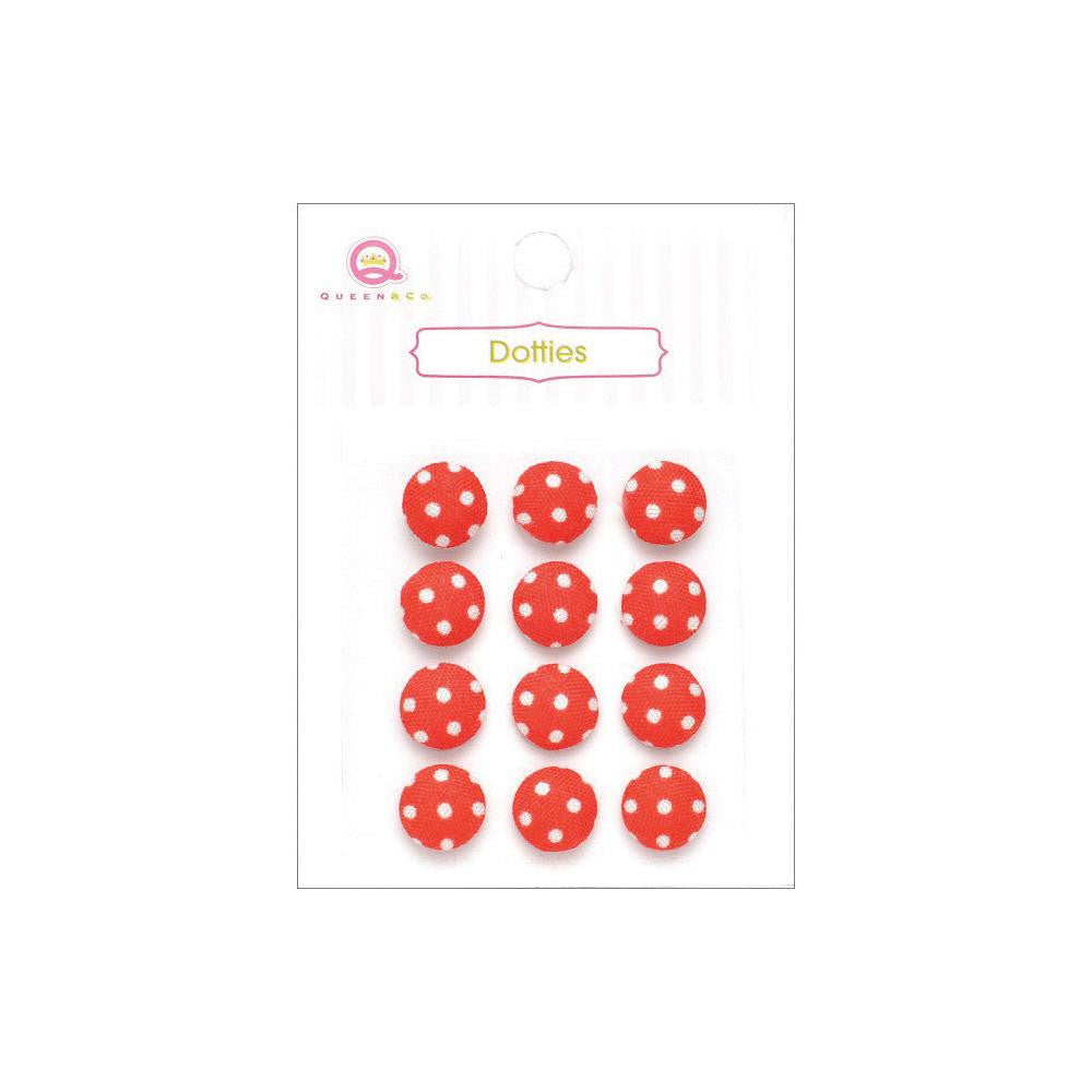 Queen & Co, Dotties Fabric Dots, Self-Adhesive, 12/Pkg - Red