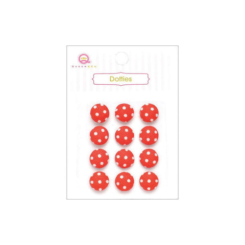 ***New Item*** Queen & Co, Dotties Fabric Dots, Self-Adhesive, 12/Pkg - Red